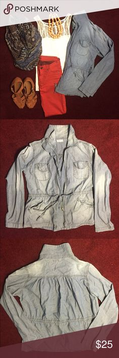 Jean Jacket, faded blue, lightweight, all season Lightweight jacket. With four functional pockets. Zipper front, comfort fit, with collar. Draw string cinch waist for contour look. Jackets & Coats Jean Jackets