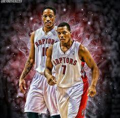 Demar DeRozan and Kyle Lowry Basketball Playoffs, Rockets Basketball, Basketball Socks, Nba Playoffs, Nhl, Toronto Raptors, Kyle Lowry, Sports Art, Sports Teams