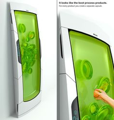Bio Robot Refrigerator by Yuriy Dmitriev - The Bio Robot fridge cools biopolymer gel through luminescence and uses non sticky, odorless gel to envelope stored food as individual pods. Sans doors and drawers, the fridge can be oriented vertical or horizontal, as per the home requirements.