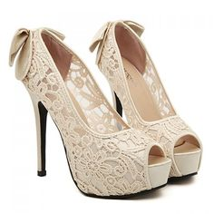 Sweet Bowknot and Flower Embroidery Design Peep Toed Shoes For Women, APRICOT, 36 in Peep Toe | DressLily.com