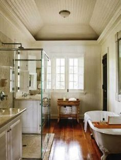 Glass shower between vanities.. I just love a lot about this room..
