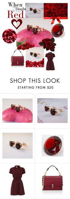 """""""Wear Red"""" by joalustrousjewellery ❤ liked on Polyvore featuring Valentino, Fendi, red, garnet, gems, wearred and garnetred"""