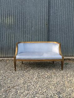 Bianca Gold settee with Blue Velvet