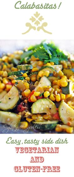 Calabacitas recipe, a wonderful vegan side dish with zucchini, corn, and green chiles. Perfect for picnics and backyard grilled suppers. Vegan Side Dishes, Food Dishes, Mexican Food Recipes, Healthy Recipes, Ethnic Recipes, Mexican Dinners, Vegetarian Recipes, Calabacitas Recipe, Picnic Dinner