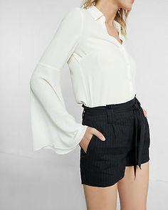 Slim Fit No Pocket Flared Sleeve Portofino Shirt