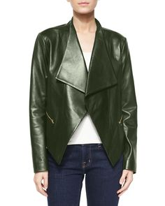Wide-Collar Leather Jacket