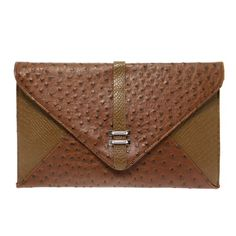 Carry your essentials with you on your next night out with this classic brown structured clutch bag.