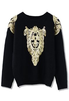 Gold Sequin Design Black Sweatshirt. Wear with snapback, black/acid washed ripped skinny jeans and a pair of kicks.