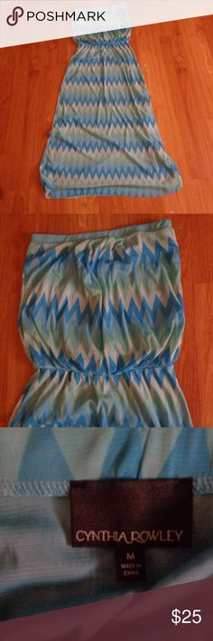 CYNTHIA ROWLEY Strapless Maxi Dress Size M Size medium chevron print maxi dress from Cynthia Rowley. Various shades of blue.  From a smoke free home.  Check out my other listings! I love to give discounts for bundles!!! Cynthia Rowley Dresses Maxi