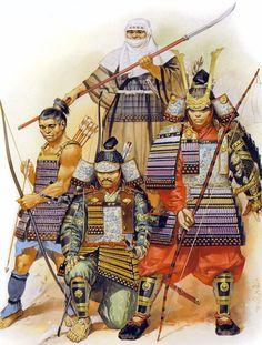 """""""Ichi-no-Tani, 1184"""",  Minamoto no Kuró Yoshitsune Satô Tadanobu Ise no Saburô Yoshimuri"""