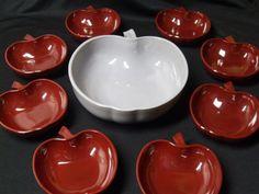 9 Set Vintage 40s 50s Hazel Atlas Apple Salad Bowl Set Orchard Ware  $79.99