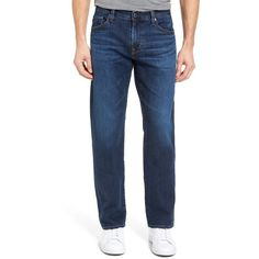 Men's Ag Protege Straight Leg Jeans ($188) ❤ liked on Polyvore featuring men's fashion, men's clothing, men's jeans, courts, mens yellow jeans, mens jeans, mens stretch denim jeans, mens straight leg jeans and mens dark wash jeans
