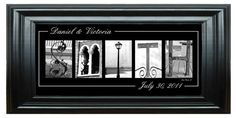 Personalized Wedding Family Name Print Architectural Letter Collage Black & White