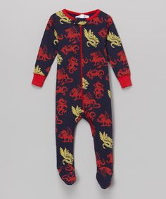 Look what I found on #zulily! Red & Navy Dragon Organic Footie - Infant by Sweet Peanut #zulilyfinds