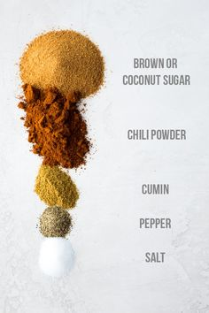Brown sugar chili seasoning is amazing as a rub on salmon or chicken, as seasoning on potatoes or vegetables, or on roasted chickpeas! Gluten-free, paleo friendly, and ready in 5 minutes or less! Homemade Dry Mixes, Homemade Spice Blends, Homemade Spices, Homemade Seasonings, Spice Mixes, Chili Seasoning, Vegetable Seasoning, Seasoning Mixes, Dry Rub Recipes