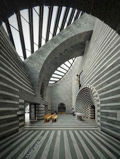 Church of St. John the Baptist in Lavizzara, Switzerland by Mario Botta