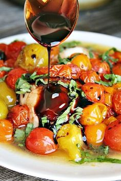 Grilled Fresh Mozzarella with Roasted Tomatoes and Basil ... drizzled with balsamic vinegar.