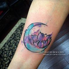 Lotus moon  #watercolortattoo #watercolourtattoo #davidboggins…