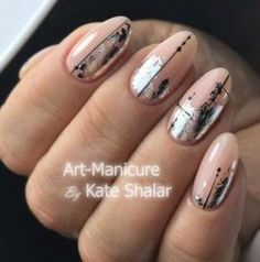 Beauty Nails oval art manicures 16 ideas Wedding Gifts – How Much To Spend Most adults know how much Oval Nails, Nude Nails, Acrylic Nails, Perfect Nails, Gorgeous Nails, Pretty Nails, Foil Nail Designs, Foil Nail Art, Sparkle Nails