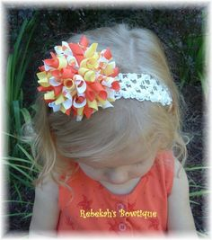Halloween Candy Corn Orange Yellow Hair Bow Hairbow Korker Bows Clip Headband Infant Toddler Girls Fall Autumn on Etsy, $10.95