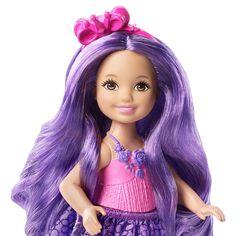 Barbie - Chelsea Reino Cabelos, uma boneca da Chelsea ou de uma das suas amigas, duas molas e uma escova.