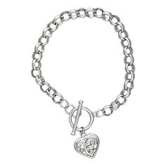 Montana Silversmiths Swept Away Heart Charm Bracelet - This silver charm bracelet of soft, round rolo chain links features a small silver heart, antiqued to highlight the deeply engraved swirls, dangling from the carelessly elegant toggle clasp.