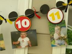 Mickey head banner with a number on each head.  Attach a clothespin to the back to hang a corresponding picture to the month number.