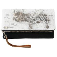 Leopard Black Fold-Over Clutch