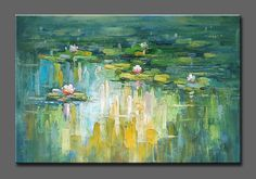 "36""x24"" original hand painted oil painting canvas Modern wall art Lotus #Abstract"