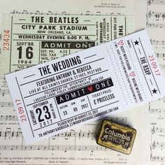 Wedding/ Party Invitations - Gig/ Concert Ticket Design x 40 (Perforated)