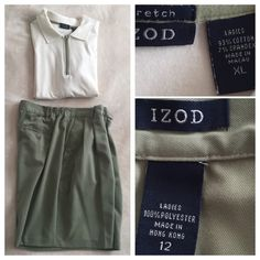 ⛳️IZOD Women's Golf Polo & Shorts Cream & Green⛳️ IZOD Women's Golf Polo Shirt & Shorts in Cream & Olive Green. Top size XL and bottom size 12. A matching set for a lady golfer ⛳️ Top is 93% cotton and 7% spandex. Bottom is 100% polyester. Can sell separately if interested. No trades but offers are welcome IZOD Other