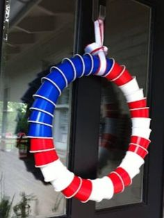 patriotic red solo cup wreath...could this BE any more redneck? Pinterest, you are drunk!