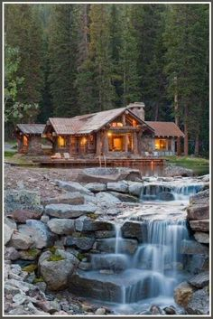 Beautiful cabin in the woods.