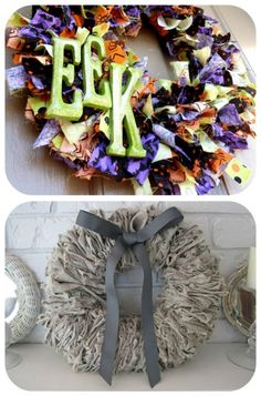 88 Beautiful Wreaths To Make! {free patterns} // this halloween one is made with ribbon