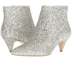 Kate Spade New York Women's Stan Ankle Boot Kate Spade Boots, Ankle Highs, Silver Glitter, Peep Toe, Booty, Heels, Lust, Womens Fashion, Leather