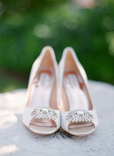 Classic white jeweled bridal shoes: http://www.stylemepretty.com/wisconsin-weddings/door-county/2016/02/10/rustic-glam-wisconsin-summer-wedding/ | Photography: The McCartneys - http://www.meetthemccartneys.com/
