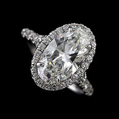 1.5CT Oval Forever Brilliant Moissanite 14K White Gold Cut Down Micropave Halo Split Shank Diamond Engagement Ring