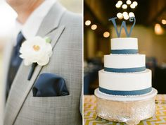 navy blue and white wedding cake with initial cake topper. gray and navy suit. loren routhier photography