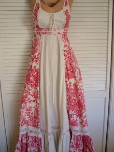 Gunne Sax Style DRESS Cream Cotton Red Toile Pattern
