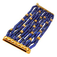 Verdura Lapis Lazuli &  Gold Beaded Bracelet | From a unique collection of vintage beaded bracelets at http://www.1stdibs.com/jewelry/bracelets/beaded-bracelets/