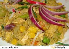 Tofu s kuskusem a zeleninou Tofu, Couscous, Mozzarella, Grains, Chicken, Recipes, Fitness, Jars, Diet