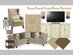 Great room design. SW latte, SW coconut husk, repainted dresser, sectional, wallpaper, antique finish, mercury glass