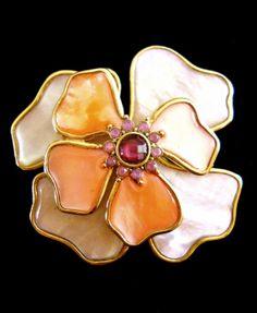 Mother of Pearl Brooch Vintage Pink Rhinestones by RenaissanceFair