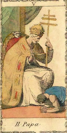 The Pope (The Hierophant) - Ancient Tarot of Lombardy