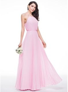 A-Line/Princess Scoop Neck Floor-Length Bow(s) Pleated Zipper Up Spaghetti Straps Sleeveless No Candy Pink Spring Summer Fall General Plus Chiffon Bridesmaid Dress