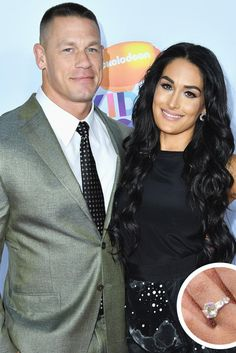 John Cena and Nikki Bella - The Most Breathtaking Engagement Rings Ever - Southernliving. The Internet could not stop buzzing after wrestler-actor Cena proposed live to fellow WWE star Bella at WrestleMania 33—and she accepted. Cena presented his love with a massive Tiffany & Co. diamond ring.