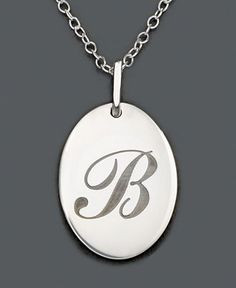 Sterling Silver Pendant, B Initial