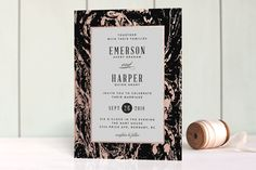 """""""Modern Marble"""" - Classical, Formal Foil-pressed Wedding Invitations in Cloud by…"""