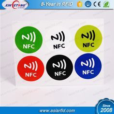 Diameter 30 mm NTAG213 NFC Sticker 6 pcs and 6 Color NFC Tag in one SheetBasic Feature:6 pcs NFC Sticker / 6 color NFC stickerin one Sheet ,Diameter 30 mm NTAG213 NFC sticker with different color ;Specification:ICNtag213Memory of NTAG213 Chip180Bytes (User memory 144 bytes ,Max url(chara