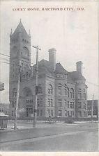 Hartford City Indiana~Blackford County Court House~1909 B&W Postcard